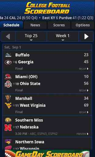 College Football Scoreboard 3