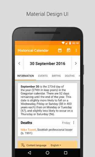 Historical Calendar (Android) image 1