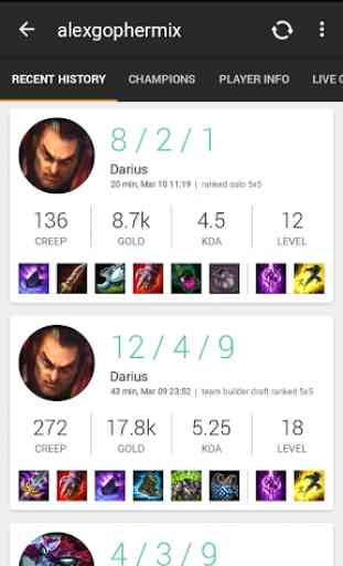 Match History for LoL 2