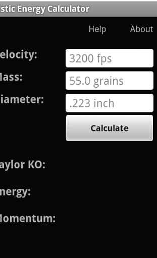Ballistic Energy Calc 1