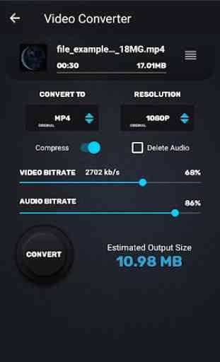 Video Converter, Compressor MP4, 3GP, MKV,MOV, AVI 3