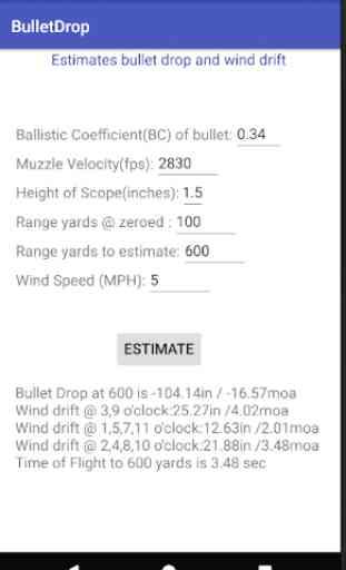 Bullet Drop Estimation 1